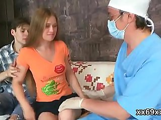 Tricky doctor fingers erotic teenie tight vagina in 3some