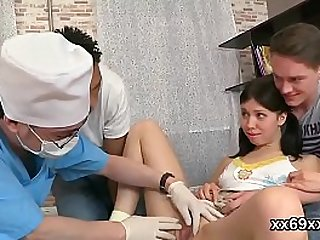 Artful doctor pleasures cute teenie pink slit in 3some