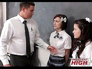 Threesome teens and teacher